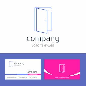 Projekt wizytówki z logo firmy drzwi wektor