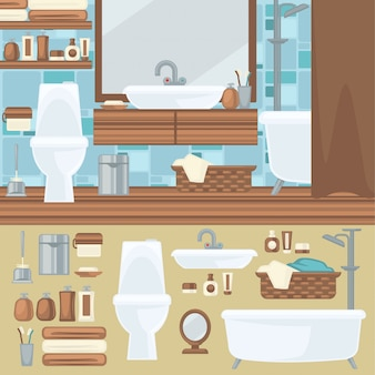 Projekt wnętrz łazienki. akcesoria i zestaw mebli.