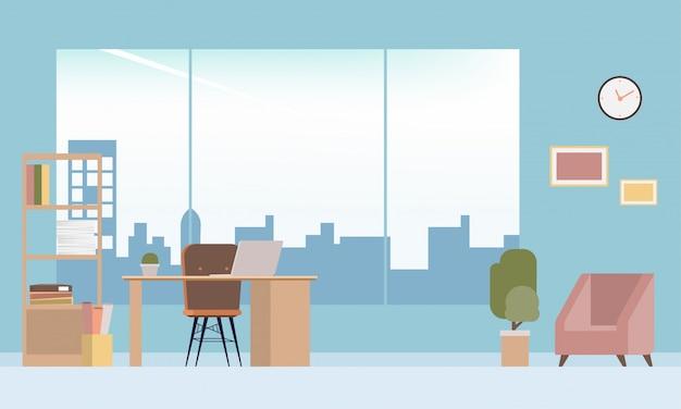 Projekt wnętrz pokój nowoczesny biurowy.