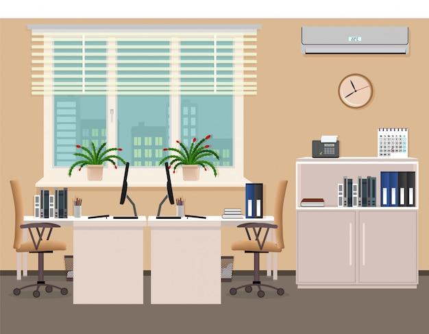 Projekt wnętrza pokoju biurowego, w tym dwa miejsca pracy z klimatyzatorem. organizacja miejsca pracy w biurze firmy.