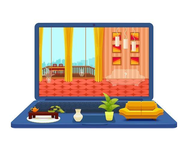 Projekt wnętrza pokoju na ilustracji laptopa