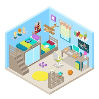 Projekt wnętrza pokoju nastolatka z meblami i komputerem