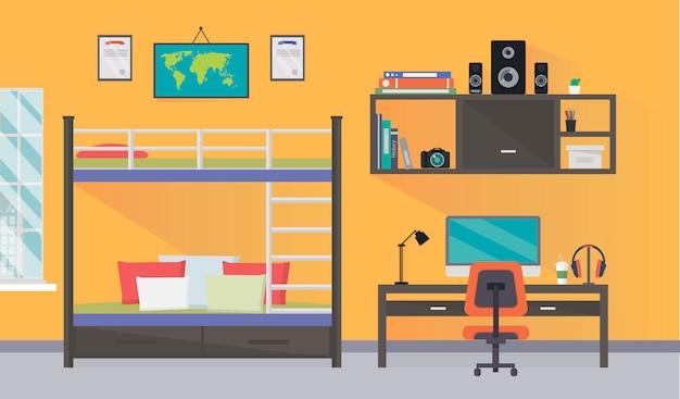 Projekt wnętrza pokoju nastolatka z modnym miejscem do pracy domowej