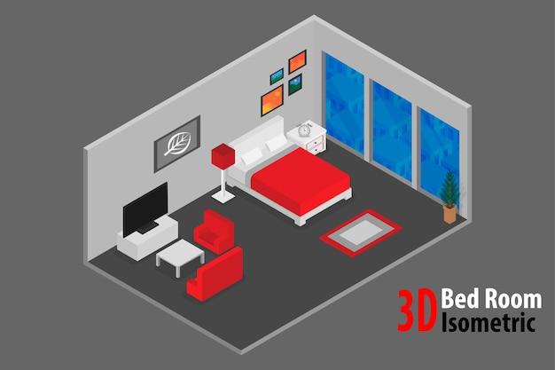 Projekt wnętrza sypialni z łóżkiem i akcesoriami