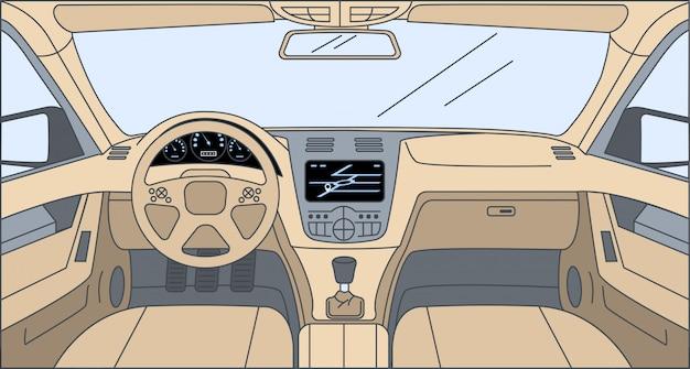 Projekt wśrodku samochodowej kreskówka konturu ilustraci. widok kierowcy z nawigatorem, sterem, deską rozdzielczą.