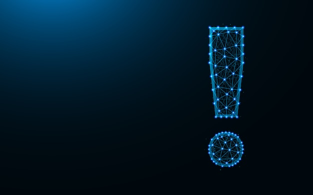 Projekt wykrzyknika low poly, streszczenie geometryczne znaki interpunkcyjne szkielet siatki wielokątne tło