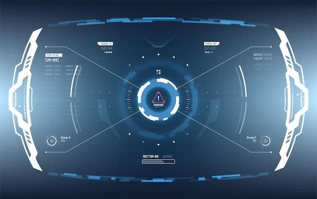 Projekt wyświetlacza interfejsu użytkownika scifi dla futurystycznego interfejsu wojskowego i statku kosmicznego