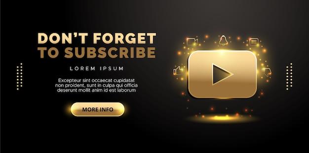 Projekt youtube w kolorze złotym na czarnym tle