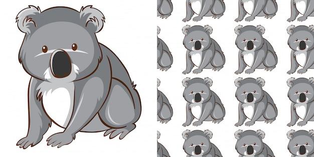 Projekt z bezszwową deseniową śliczną koalą