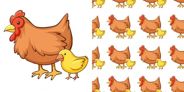 Projekt z bezszwowym wzorem kury i pisklęcia