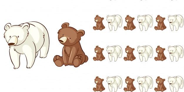 Projekt z bezszwowym wzorem niedźwiedzia i niedźwiedzia polarnego