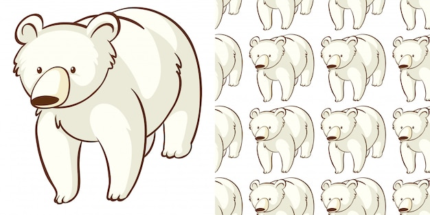 Projekt z bezszwowym wzorem niedźwiedzia polarnego