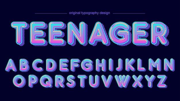 Projekt zaokrąglonej typografii w neonowych kolorach