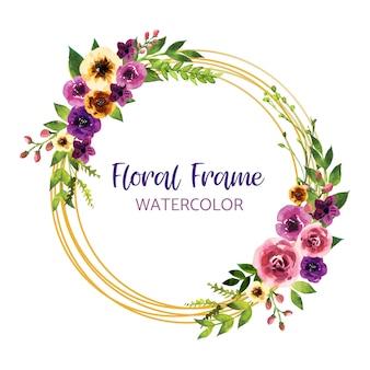 Projekt zaproszenia akwarela z liści i kwiatów, karty, ramki, granicy. plakat, pozdrowienie ilustracji sztuki akwareli