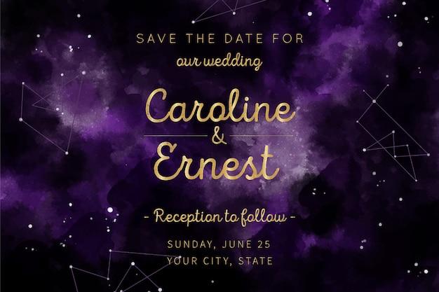Projekt zaproszenia ślubne akwarela galaktyki