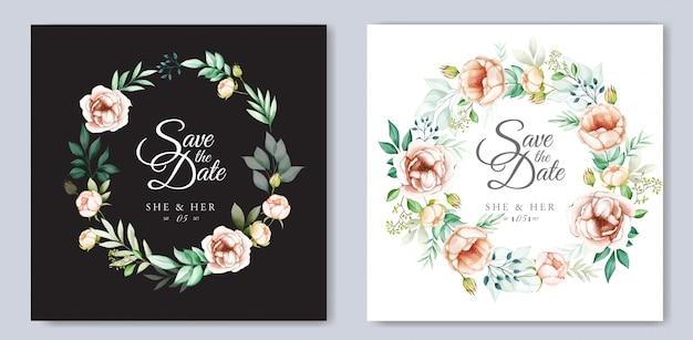 Projekt zaproszenia ślubne z akwarela kwiatów i liści