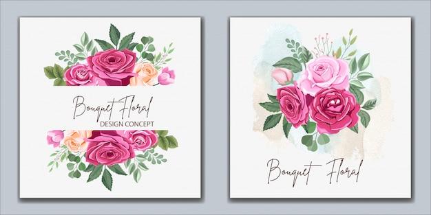 Projekt zaproszenia ślubne z pięknym kwiatem i liśćmi
