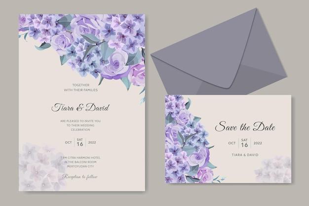 Projekt zaproszenia ślubnego z kwiatami hortensji