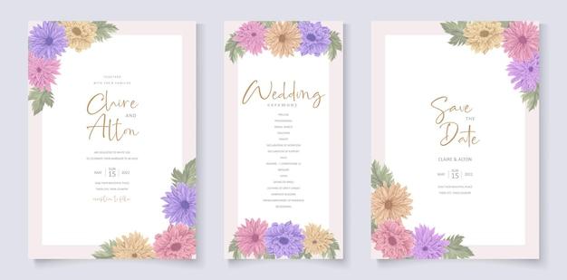 Projekt zaproszenia ślubnego z pięknym ornamentem z kwiatu chryzantemy