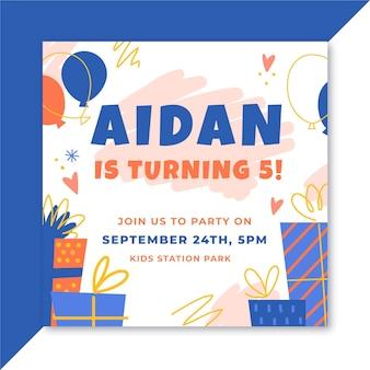 Projekt zaproszenia urodzinowe