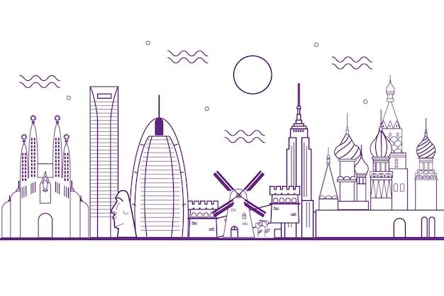 Projekt zarys panoramę zabytków
