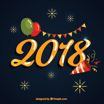 Projekt ze złotymi cyframi na nowy rok 2018