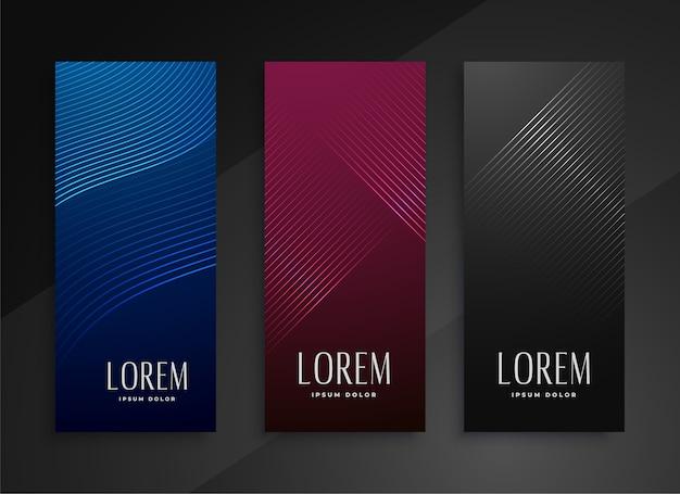 Projekt zestaw pionowych banerów w stylu błyszczącej linii
