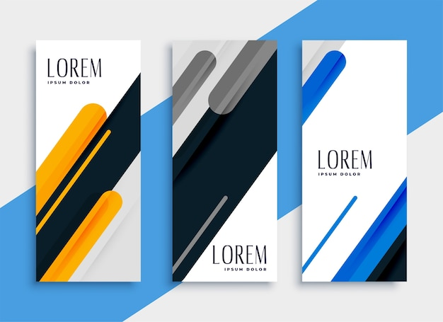 Projekt zestawu pionowych banerów internetowych w nowoczesnym stylu