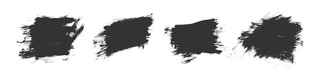 Projekt zestawu tekstury obrysu pędzla akwarela czarny