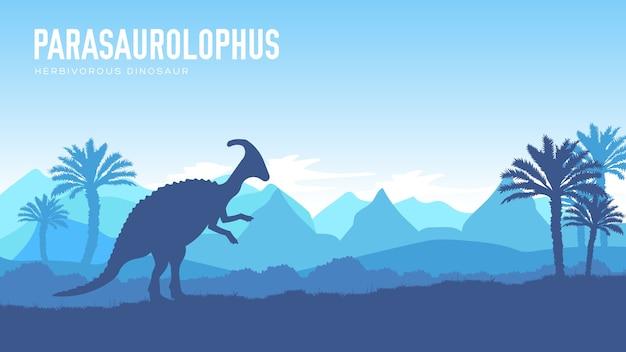 Projekt ziemi przed naszą erą. dinozaur parazaur w swoim środowisku. prehistoryczne stworzenie dżungli w przyrodzie