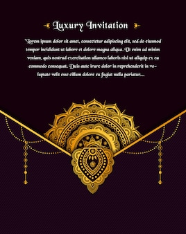 Projekt złota rocznika kartkę z życzeniami na ciemnym tle z kwiatem złotej mandali