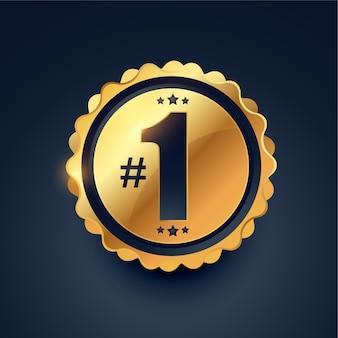 Projekt złotej etykiety zdobywcy nagrody numer jeden