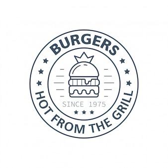 Projekt znaczka hamburgery, ilustracja wektorowa linii