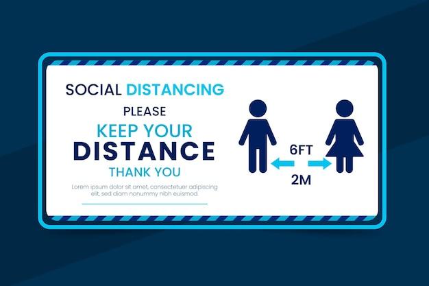 Projekt znak odległości społecznej banner