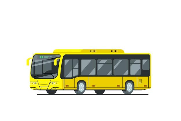 Projekt żółty autobus miejski na białym tle.