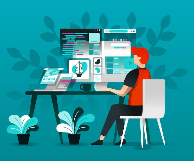Projektanci pracują z internetem