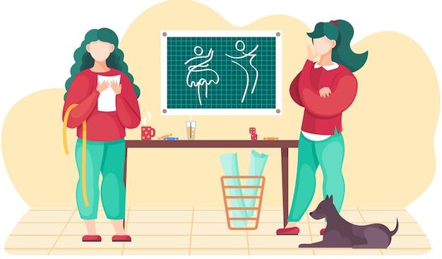 Projektanci pracujący z nowymi ubraniami
