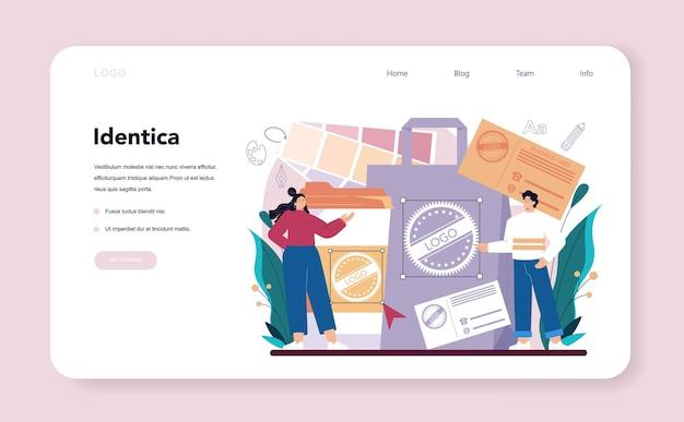 Projektant graficzny baner internetowy lub strona docelowa artysta cyfrowy tworzący markę