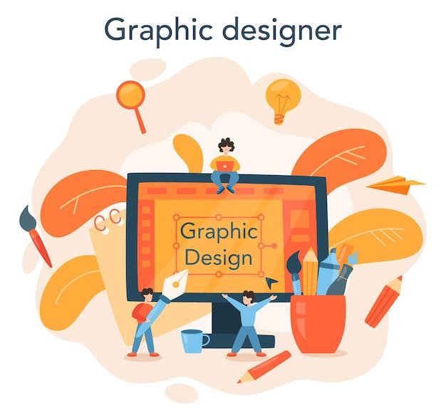 Projektant graficzny lub koncepcja ilustratora cyfrowego