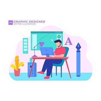 Projektant graficzny płaska ilustracja kreatywny niezależny obszar roboczy freelancer