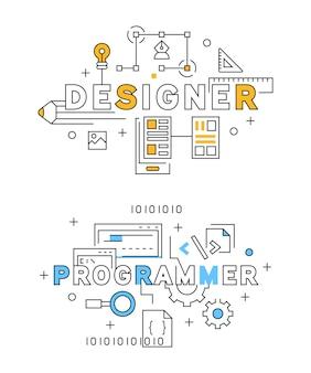 Projektant i programista flat line design w kolorze niebieskim i pomarańczowym