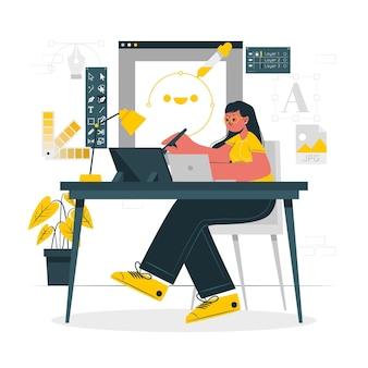 Projektant ilustracja koncepcja dziewczyna