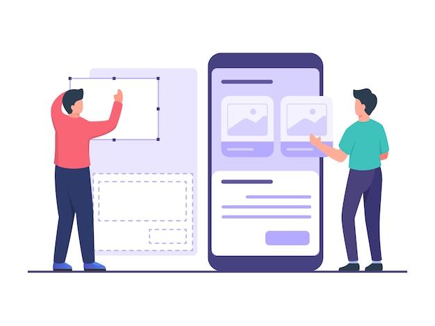 Projektant interfejsu użytkownika tworzy szkielet przy użyciu narzędzia we współpracy z programistami projektującymi aplikacje mobilne na dużym smartfonie w stylu płaskiej kreskówki.