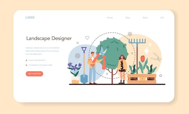 Projektant krajobrazu baner internetowy lub strona docelowa. pomysł na ogrodnictwo