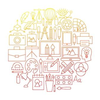 Projektant linii ikona koło projekt. ilustracja wektorowa szablonu konspektu.