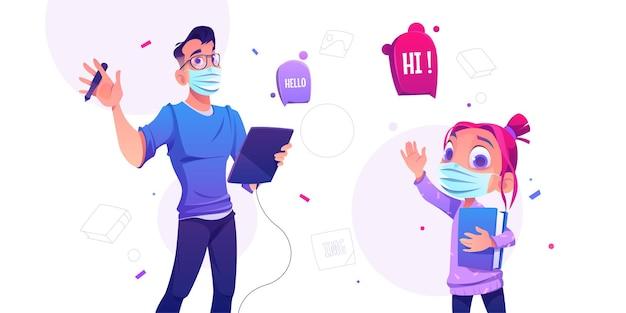 Projektant mężczyzna z tabletem graficznym i śliczną dziewczynką z książką