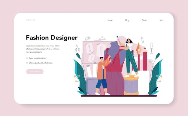 Projektant mody baner internetowy lub strona docelowa. profesjonalny krawiec