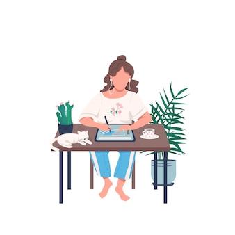 Projektant o płaskiej postaci tabletu bez twarzy. zajęcia zdalne dla artystów. dziewczyna rysuje piórem na urządzeniu. kreatywne hobby ilustracja kreskówka na białym tle do projektowania grafiki internetowej i animacji