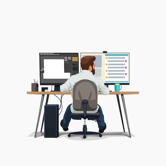 Projektant siedzi przy biurku i pracuje na białym tle