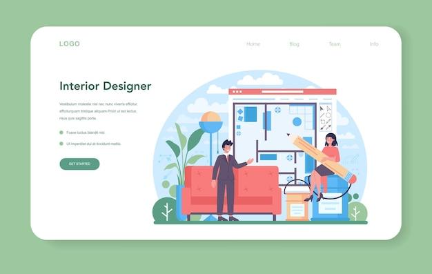 Projektant wnętrz baner internetowy lub strona docelowa. dekorator planujący projekt domu, dobierający kolor ścian i styl mebli. remont domu. ilustracja na białym tle płaski wektor